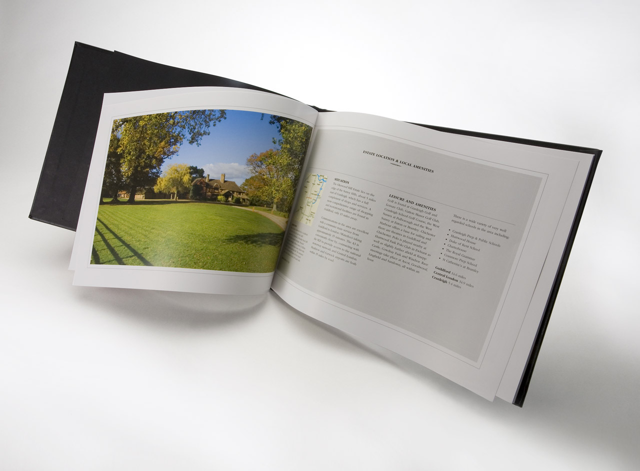 Design and printing of leather bound book for property company
