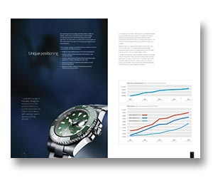 Brochure design for Rolex watches