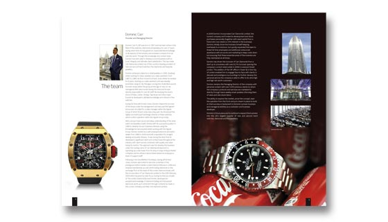 High quality glossy brochure for company selling Rolex watches