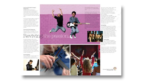 Brochure for childrens' music charity, design and print