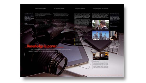 Glossy brochure designed and printed for security firm