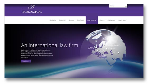 Website design, development and maintenance for London law firm