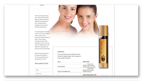 Website development for skincare products