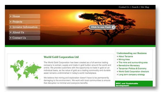 Website development for gold mining company