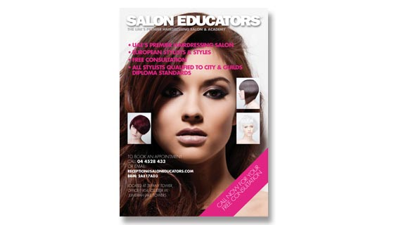 Leaflet for hairdressing company